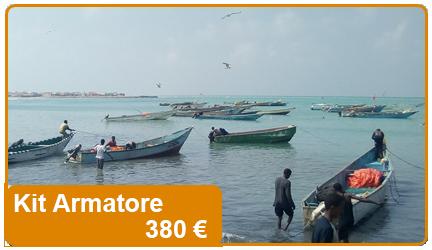 Kit che contribuisce all'acquisto di una barca da pesca, attrezzature e le necessarie attrezzature di sicurezza.